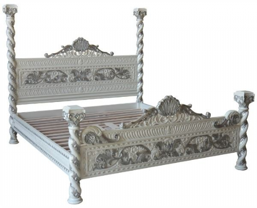 Ornate Four Poster Bed in White and Silver